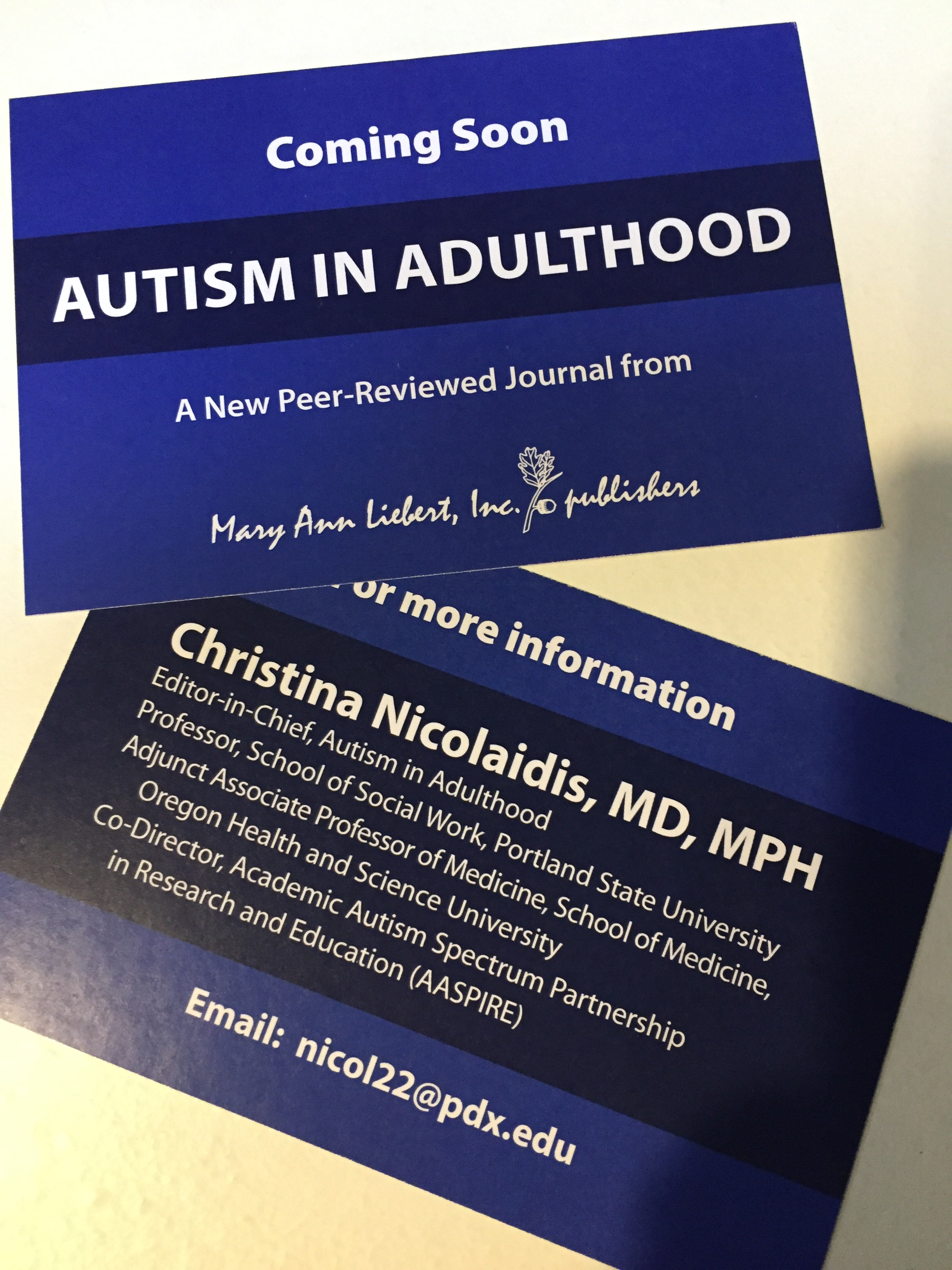 Announcing Autism in Adulthood, a New Peer-Reviewed Journal