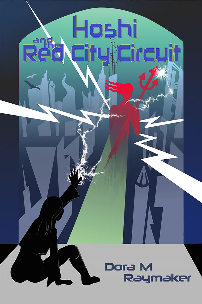 Cover of the book Hoshi and the Red City Circuit by Dora M Raymaker. In the foreground, a silhouette of a woman stretches her hand toward an arched window through which there's a stylized, deco, futuristic cityscape. In the center of the city, a figure with a trident emits lightening strikes. The figure in the foreground is sending lightening back from her outstretched palm.