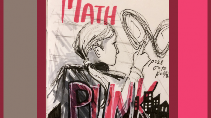 """Rough pen and ink sketch of a young man with a pony tail and a leather jacket tracing a chaos attractor in the air; there is a silhouette of a city in the background. It says """"3. Your Genre: Math Punk"""" on it"""